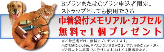 野田市(千葉県)でペット火葬されたら巾着袋付メモリアルカプセルプレゼント